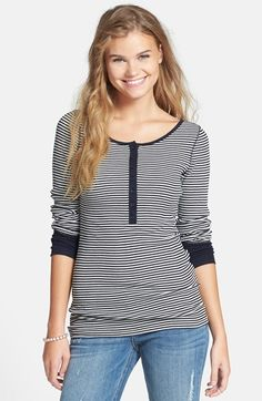 BP. Stripe Ribbed Tee (Juniors) available at #Nordstrom