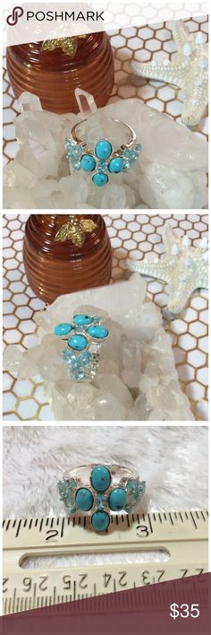 TURQUOISE AND TOPAZ RING Set in 9.25 Sterling silver.  Stamped VL Thailand. Size 8.75. Absolutely beautiful. Would keep if it fit. Jewelry Rings