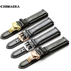 CHIMAERA Black Genuine Calf Watchband 18mm 19mm 20mm 21mm 22mm Watch Band Leather Strap For Omega Breitling Tissot Seiko