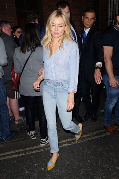 In A Button-Down Shirt, Skinny Jeans And Statement Flats - In London, 2017