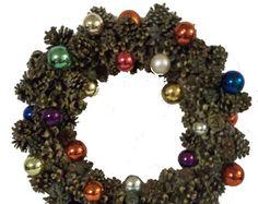 "20"" Pinecone and Christmas Ball Wreath"