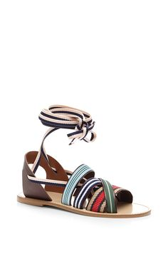 Strappy Multicolor Ankle-Tie Sandals by Band of Outsiders Now Available on Moda Operandi