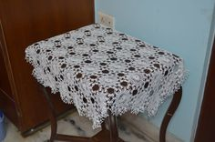 42.5'' / 108 cm  White Crocheted Tablecloth  by MomDaughterCraft