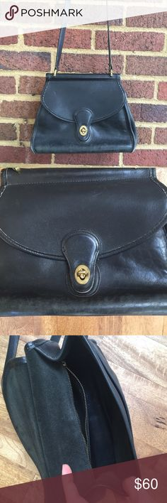 Rare Vintage Coach Purse Beautiful and buttery black leather with brass hardware. Bag number ( 0956-302) and Coach stamping on inside. Small Coach name tag hanging from strap. There's definitely some wear but it adds to the vintage charm. Coach Bags Shoulder Bags