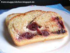 bread with cherries, walnuts, cream cheese and chocolate drops / brot mit kirschen, walnüssen, ricotta und schokodrops