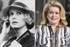 A collection of images of popular actors and actresses from the and what they look like now. Catherine Deneuve, Emilia Clarke, Then And Now Photos, Toronto Star, Ageless Beauty, French Actress, Celebs, Celebrities, Older Women