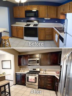 General Finishes Java Gel Stain works wonders with existing cabinets. These befo… General Finishes Java Gel Stain works wonders with existing cabinets. These before and after shots show the dramatic transformation! Love this stuff. Kitchen Cabinets Before And After, Stained Kitchen Cabinets, Gel Stain Cabinets, Restaining Kitchen Cabinets, How To Redo Kitchen Cabinets, Floors Kitchen, Painted Oak Cabinets, Updating Oak Cabinets, Refurbished Kitchen Cabinets