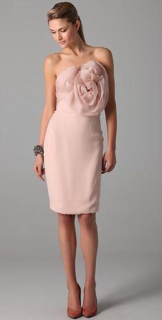 Marchesa Strapless Dress with Draped Organza Bodice
