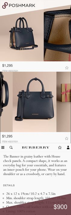 Burberry Small Banner Bag In Ink (Navy) 100% Authentic! Brand New With Tags! *No Trades* No low offers please! This bag is brand new & has never been used. It retails for 1,295 in stores. Comes with tags & dust bag. Selling on eBay & letgo app 🅿️🅿️ Burberry Bags Crossbody Bags