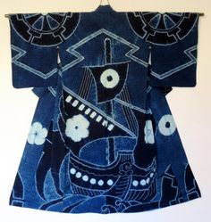 Japanese Embroidery Kimono Kimono Cotton Shibori, stenciling This is a woman's cotton kimono, not an informal yukata. The huge ship, with sails billowing in the wind,.