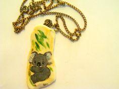 Vintage Koala Bear Necklace / Koala  Bear Jewelry / Koala Bear Items / Hand painted Jewelry / Shell Necklace / Shell Jewelry / by TamJewelryandUniques on Etsy