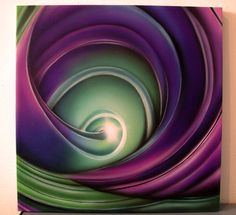 Flow airbrush painting on canvas