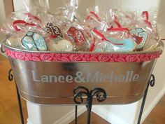 Cowboy wedding cookies in personalized steel cooler