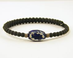 Mens Bracelet Blue Black Brass Navy Trade Bead Tribal Ethnic Beaded Unisex Jewelry for Him. via Etsy.