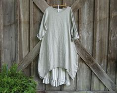 linen dress tunic in natural flax contemporary by linenclothing