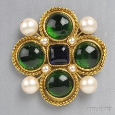 Vintage Byzantine-style Brooch, Chanel, the gold-tone mount set with colored glass and imitation pearls, lg. 3 1/4 in., signed.