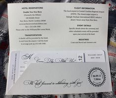 Cream and Black Vintage Airplane Love is in the Air themed Airline Ticket Wedding Invitations with Pocket Folder