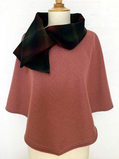 cape femme col croisé noeud laine cachemire liberty mode vieux rose carreaux hiver couture création