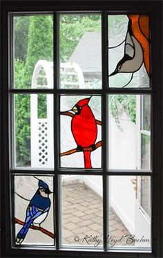 Stained glass birds door windows, cardinal stained glass, blue jay stained glass, nuthatch stained glass