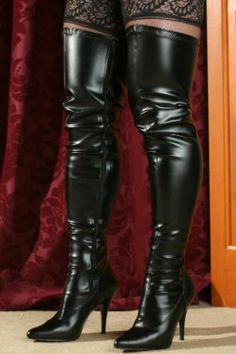 Gorgeous pair of otk leather stiletto boots. Cute lace stocking tops on show. High Heels Boots, Leather High Heel Boots, Stiletto Boots, Sexy Boots, Thigh High Boots, Black Boots, Leather Fashion, Fashion Boots, Sexy Stiefel