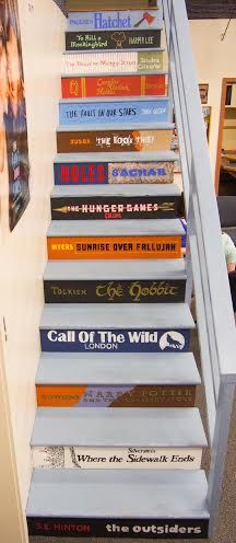 Stairs to loft in Fairmont Jr. High School Library, Boise. (I went to school there--I know exactly where that staircase is!)