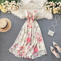 Dress Outfits, Fashion Dresses, Cute Outfits, Cheap Dresses, Casual Dresses, Looks Party, Calf Length Dress, Looks Vintage, Spaghetti Strap Dresses