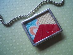 Antique Quilt glass soldered charm