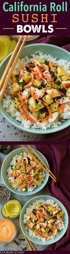 Roll Sushi Bowls - quicker and easier than traditional sushi yet equally as delicious! Definitely a repeat recipe!California Roll Sushi Bowls - quicker and easier than traditional sushi yet equally as delicious! Definitely a repeat recipe! Sushi Recipes, Seafood Recipes, Asian Recipes, Vegetarian Recipes, Dinner Recipes, Cooking Recipes, Healthy Recipes, Vegan Meals, Vegetarian Cooking