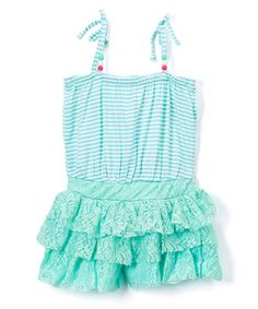Mint Stripe Ruffle-Lace Romper - Infant Toddler & Girls