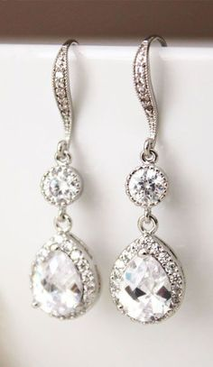 Crystal Wedding Earrings Bridal
