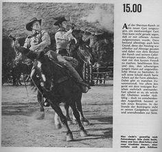 Am Fuß der blauen Berge.   War die erste Westernserie im deutschen Fernsehen. Der Originaltitel dieser amerikanischen Seriewar Laramie. Seit ihrem Start am 27.12.1959 wurde die Serie, bis auf die Jahre 1966 bis 1968, mit etlichen Wiederholungen bis in die 70er-Jahre ausgestrahlt. Die Sendungen liefen nachmittags, anfangs meist an Samstagen, ab 1964 war dann der Sonntag der Westernserien-Tag. Bis zur Pause im Jahr 1966 wurden die Episoden in schwarz-weiß, ab 1969 in Farbe gesendet. Die…