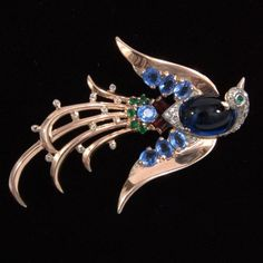 1945 Philippe CROWN TRIFARI Exotic BIRD Of PARADISE JELLY BELLY Sterling Pin