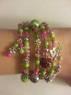 Pink and green wrap bracelet - memory wire