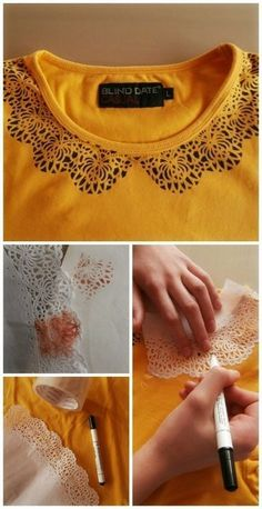 DIY Dekoration: DIY Style – Customization T-Shirts - Upcycling Kleidung Sewing Hacks, Sewing Projects, Diy Projects, Baby Born Kleidung, Diy Kleidung, Diy Vetement, Diy Couture, Refashioning, Creation Couture