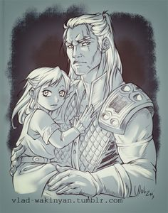 Geralt and Ciri The Witcher 3, Witcher 3 Art, The Witcher Books, Geralt And Ciri, Witcher Wallpaper, Oc Drawings, Artwork Images, Wild Hunt, Monster Hunter