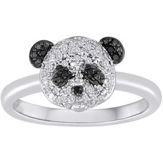 1/10 CT. T.W. White and Color-Enhanced Black Diamond Sterling Silver... ($69) ❤ liked on Polyvore featuring jewelry, rings, accessories, panda, panda ring, enhancer ring, sparkle jewelry, panda jewelry and sterling silver black diamond ring