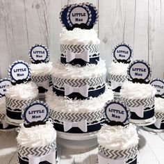 Navy and gray little man diaper cake centerpiece set for boy baby shower!