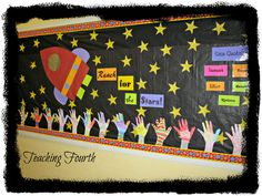 Summer Bulletin Boards For Daycare Discover Teaching Fourth september bulletin board ideas Star Themed Classroom, Space Theme Classroom, Stars Classroom, Classroom Displays, Classroom Organization, Classroom Decor, Holiday Classrooms, Classroom Board, Star Bulletin Boards