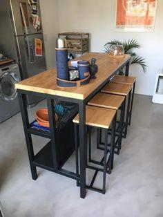 Modern Industrial Furniture, Metal Furniture, Kitchen Furniture, Industrial House, Apple Kitchen Decor, Home Decor Kitchen, Palette Furniture, Table Bar, Kitchen Room Design