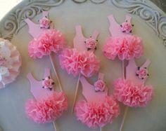 Birthday Decoration Ballerina Tutu Cupcake Toppers Set of Six Birthday Party