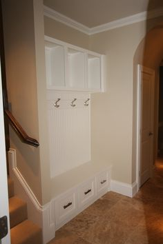 Mud room storage and bench... This could work where the front hall closet is.