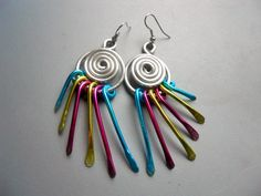 Anodized Aluminum Pink Silver Tone Aqua Blue Green Swirl Peacock Wind Chime Goddess Earrings BOLD. $18.50, via Etsy.