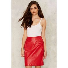 Vintage Adore Leather Skirt ($158) ❤ liked on Polyvore featuring skirts, red leather skirt, vintage skirts, leather pencil skirt, real leather skirt and red skirt