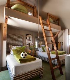 Loft style twin bedroom for kids - rustic style...