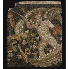 A Roman Mosaic Fragment, 3rd/4th Century A.D. from the border of a large mosaic pavement, depicting in multi-colored stone and glass tesserae on a black ground a hunting erote wielding a spear within a scrolling acanthus stalk, the tesserae set in the original cement bedding.