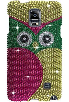 "myLife Pink + Yellow + Green Classic Owl {Bling, Rhinestone} 2 Piece Snap-On Rubberized Protective Faceplate Case for the Samsung Galaxy Note 4 ""All Ports Accessible"" myLife Brand Products http://www.amazon.com/dp/B00U4E3YZU/ref=cm_sw_r_pi_dp_hFyhvb1PRAX09"