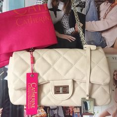 Catharine Malandrino London Chain Shoulder Bag SPRING This beautiful mid-sized bag is perfect for spring and summer! It's beige (in the best way!) with beautiful quilting and a turn clasp. Silver hardware. NWT. Dust bag included. Catherine Malandrino Bags Shoulder Bags