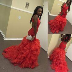 Prom Dress,Prom Dresses,Prom Gown,Red Prom Dress,Organza Prom Dress,Floor