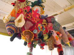 Rachel Udell  The Shapes of My Dreams and of My Nightmares  Crocheted yarn, thread, heirloom clothing, fabric, felt, fiberfill  66in x 38in x 35in  $3,500.