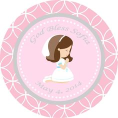 Girl Baptism / First Communion Thank You Favor Tags - Printable DIY Party Decorations, Pink